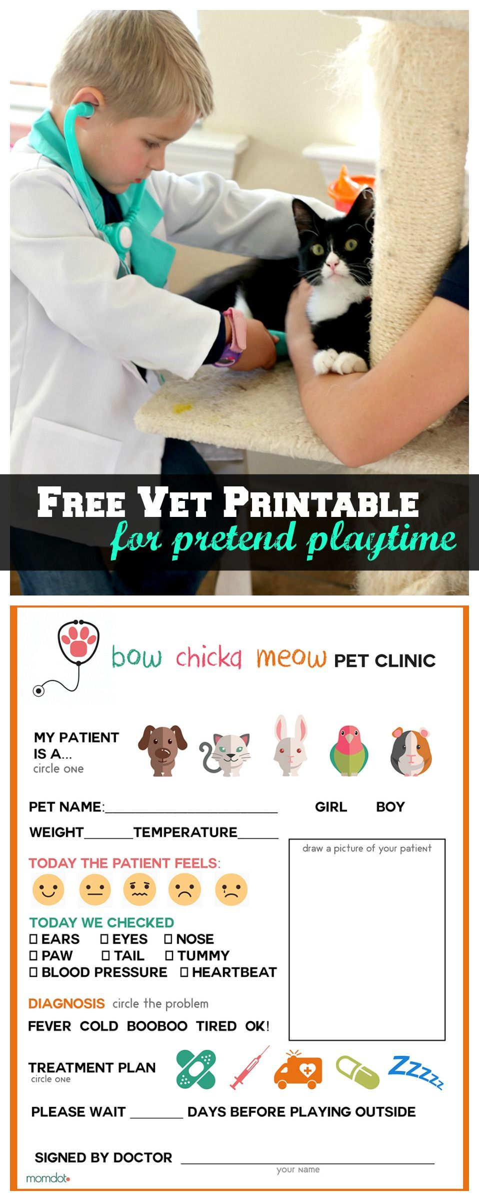 free printable  vet office pretend play sheet