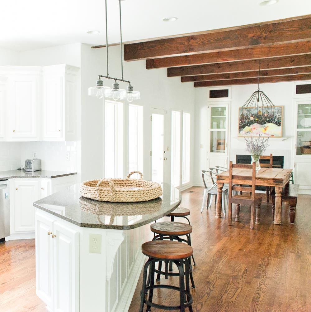 Architectural Charm in the Suburbs | Dining area, Beams and Kitchens