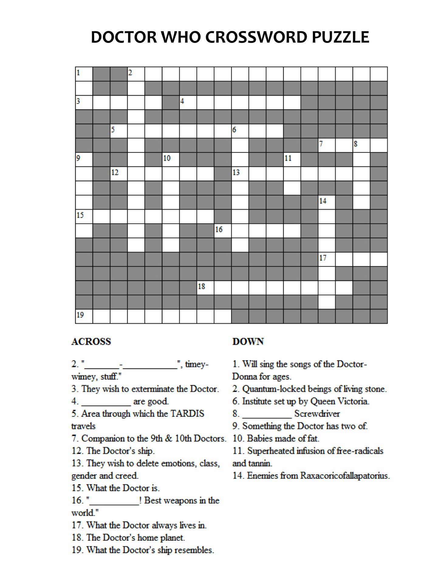Doctor Who Crossword Puzzle Doctor Who Doctor Who Dr Who