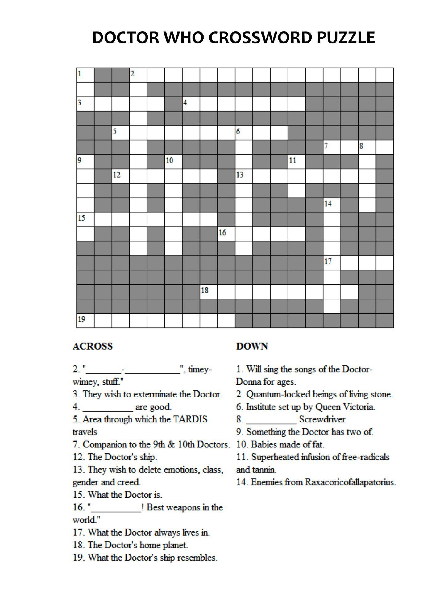 Doctor Who Crossword Puzzle. Doctor Who crossword puzzle   Persephone Magazine   Geekery