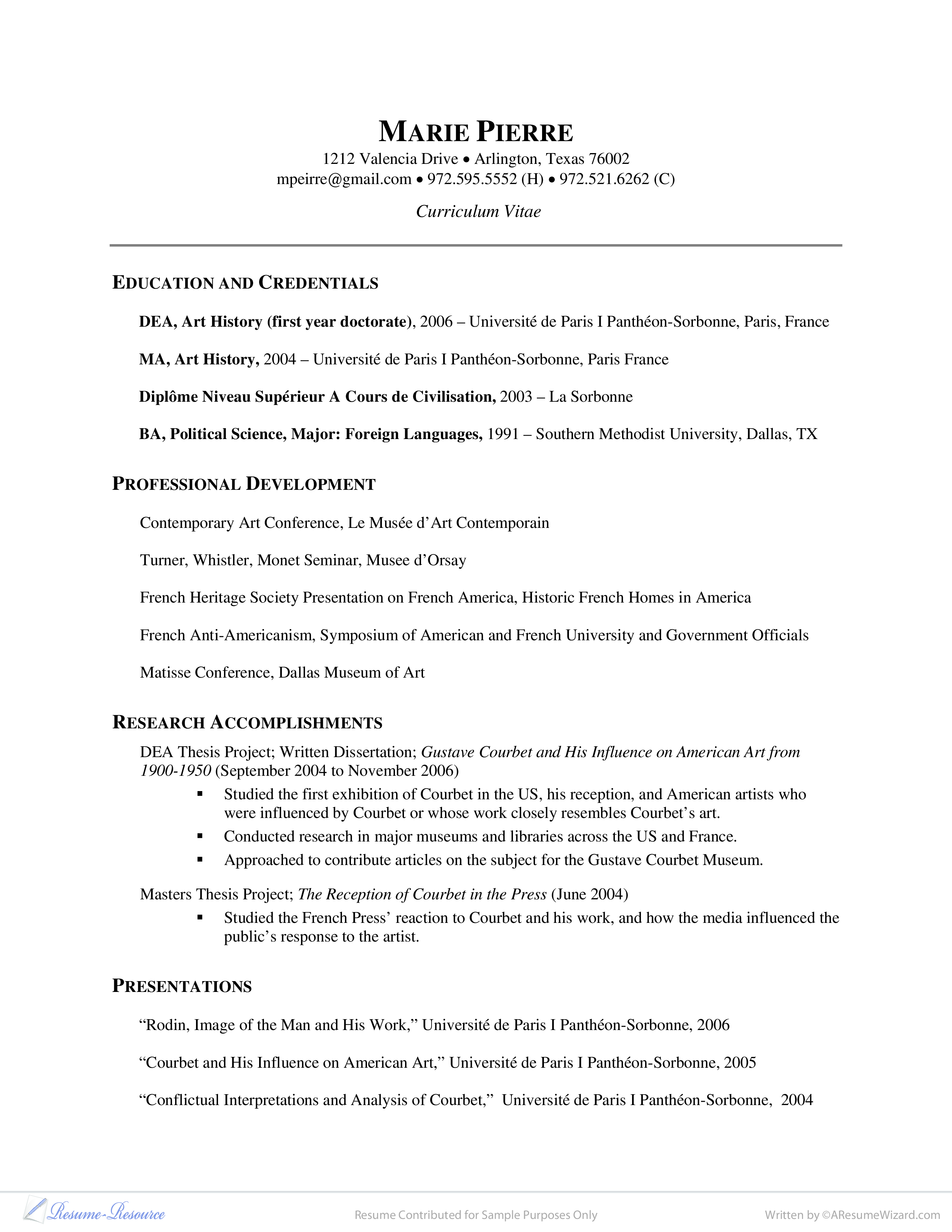 American Resume Sample Curriculum Vitae Example Researcher Art History