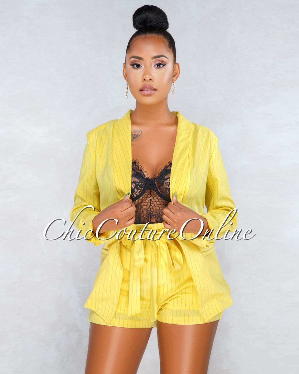 f80b3d3cd8 Chic Couture Online - Monica Yellow Stripes Blazer Shorts Two Piece Set