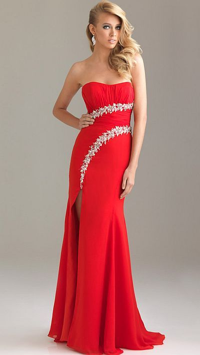 Night Moves Strapless Prom Dress with Stunning Beaded Waist | Red ...