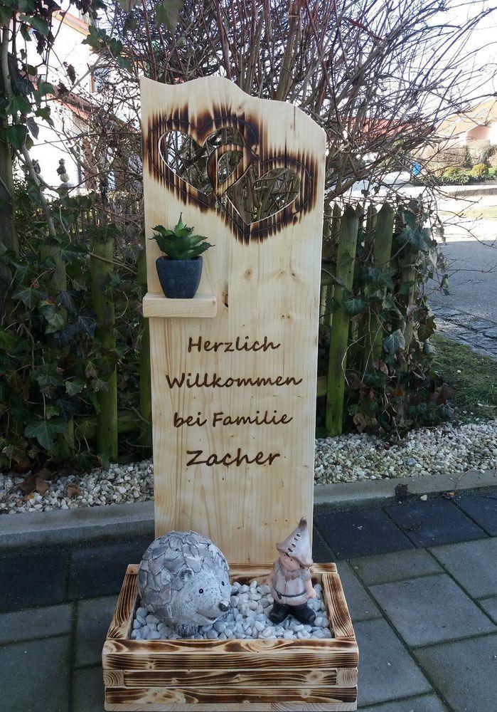 Holz Deko Schild Herzlich Willkommen
