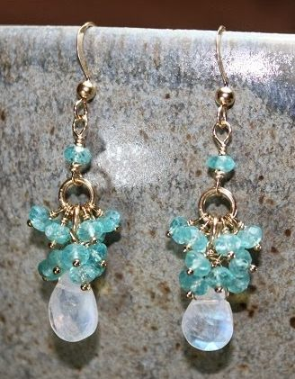 Apatite and Moonstone Cluster 14k Gold Filled Earrings
