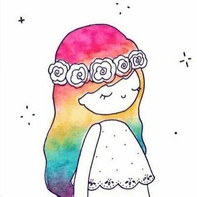 watercolor girl sketch rainbow