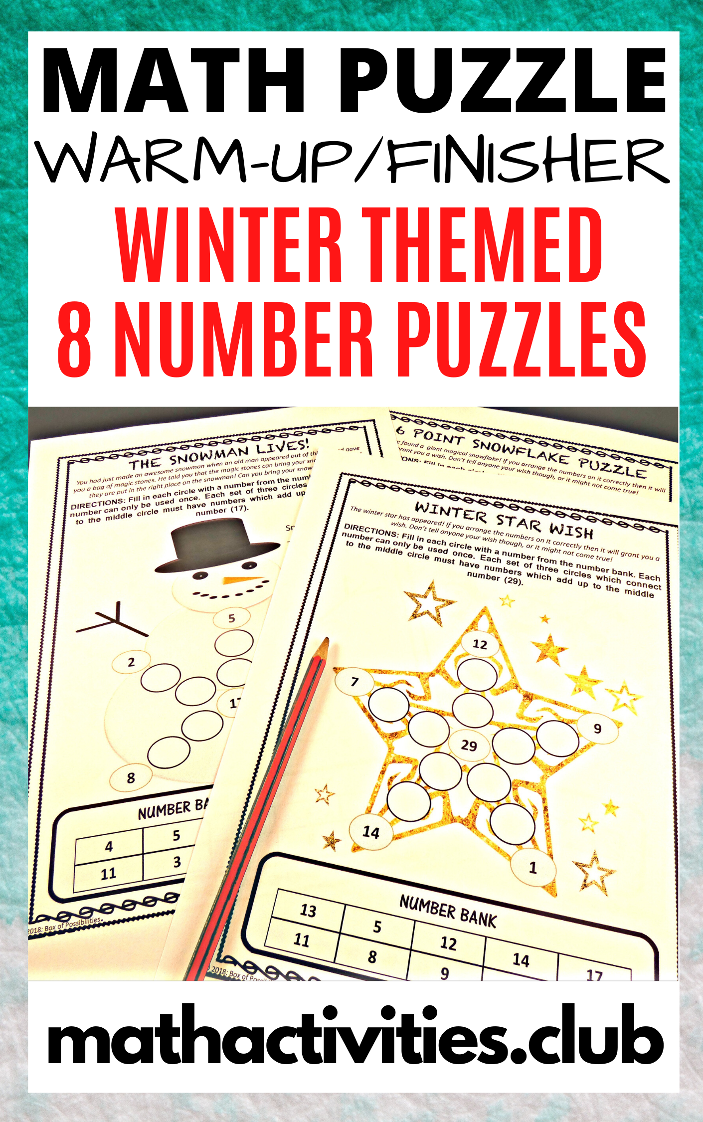 Winter Math Activity 8 Number Puzzles Christmas Winter
