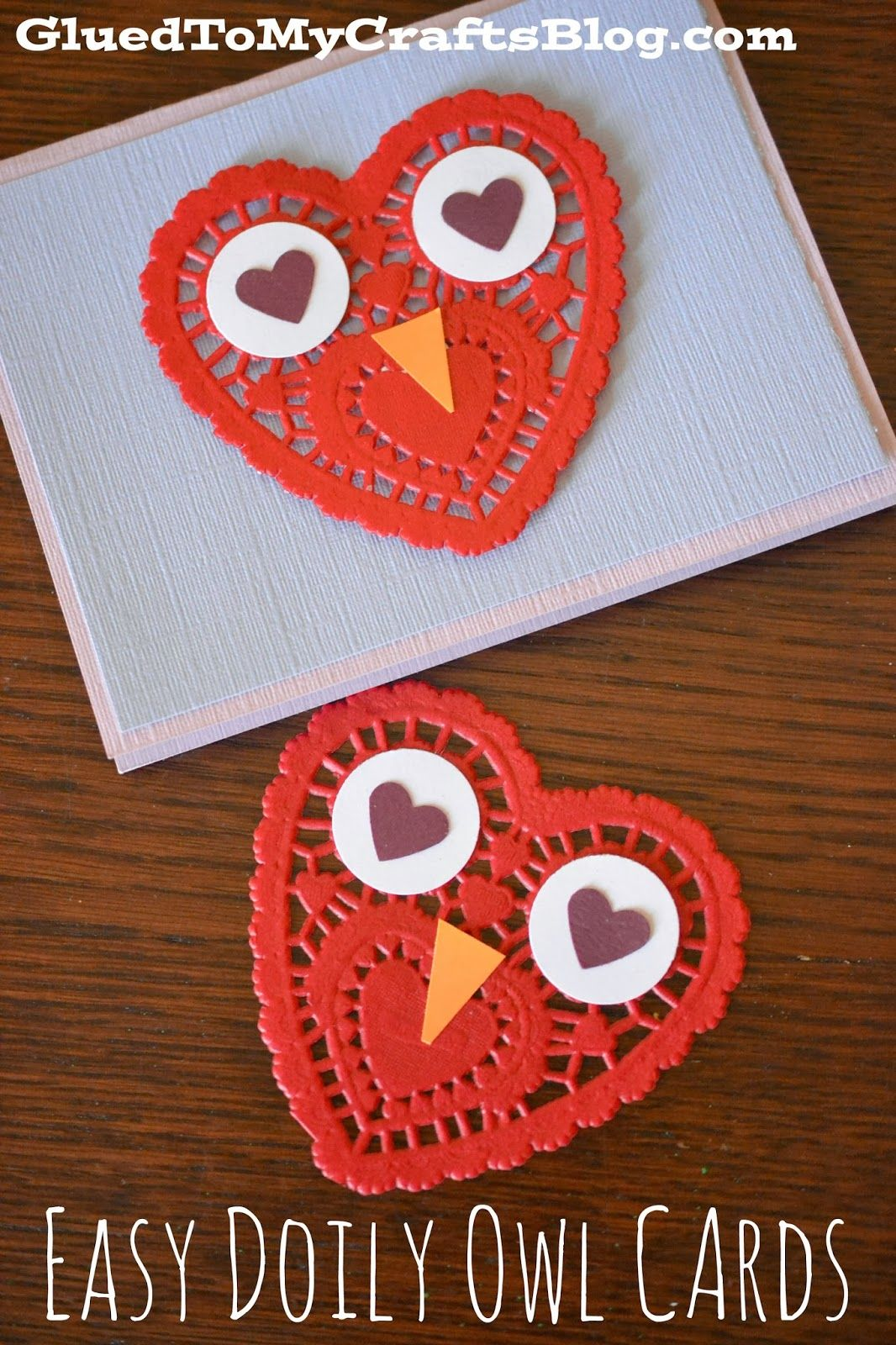 Easy Paper Heart Doily Owl Cards For Valentine S Day