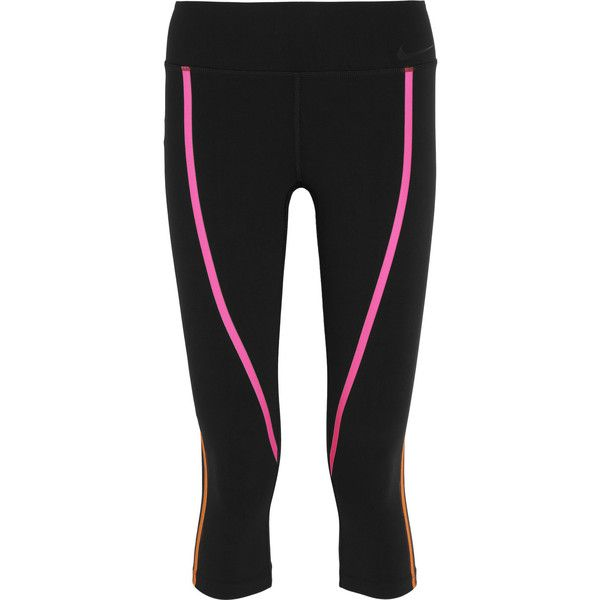 Nike Legendary cropped neon-trimmed stretch-jersey leggings ($83) ❤ liked on Polyvore featuring activewear, activewear pants, nike, black, nike activewear, nike activewear pants, stretch jersey and nike sportswear