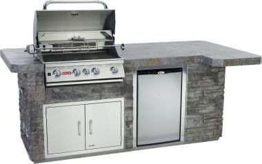 Bull BBQ - BBQ Island Comes Standard with the Angus 4 burner Grill, Stainless Steel Refrigerator,Stucco Base, Tile Counter, Stainless Steel Sink & Faucet GFCI Electrical Outlet & Stainless Steel Access Door with Lock & Key