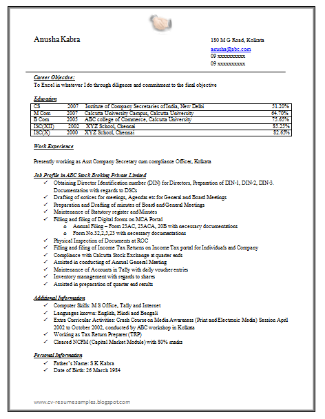 company secretary resume sample doc resume format for articleship