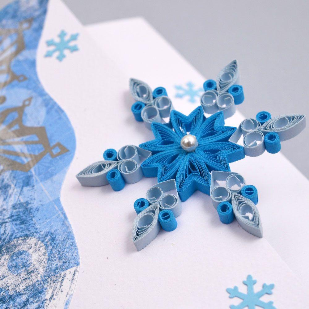 Аппликация, снежинки на открытке своими руками