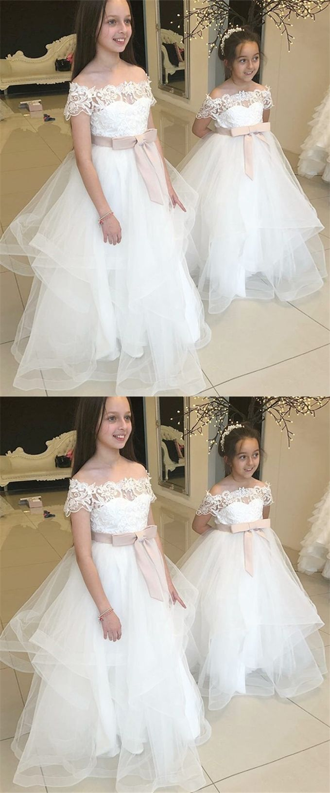 Country girl wedding dress  ALine OfftheShoulder FloorLength Flower Girl Dress with Lace in