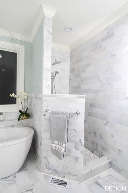 Photo of First Look at the Marble Master Bathroom | DeeplySouthernHome