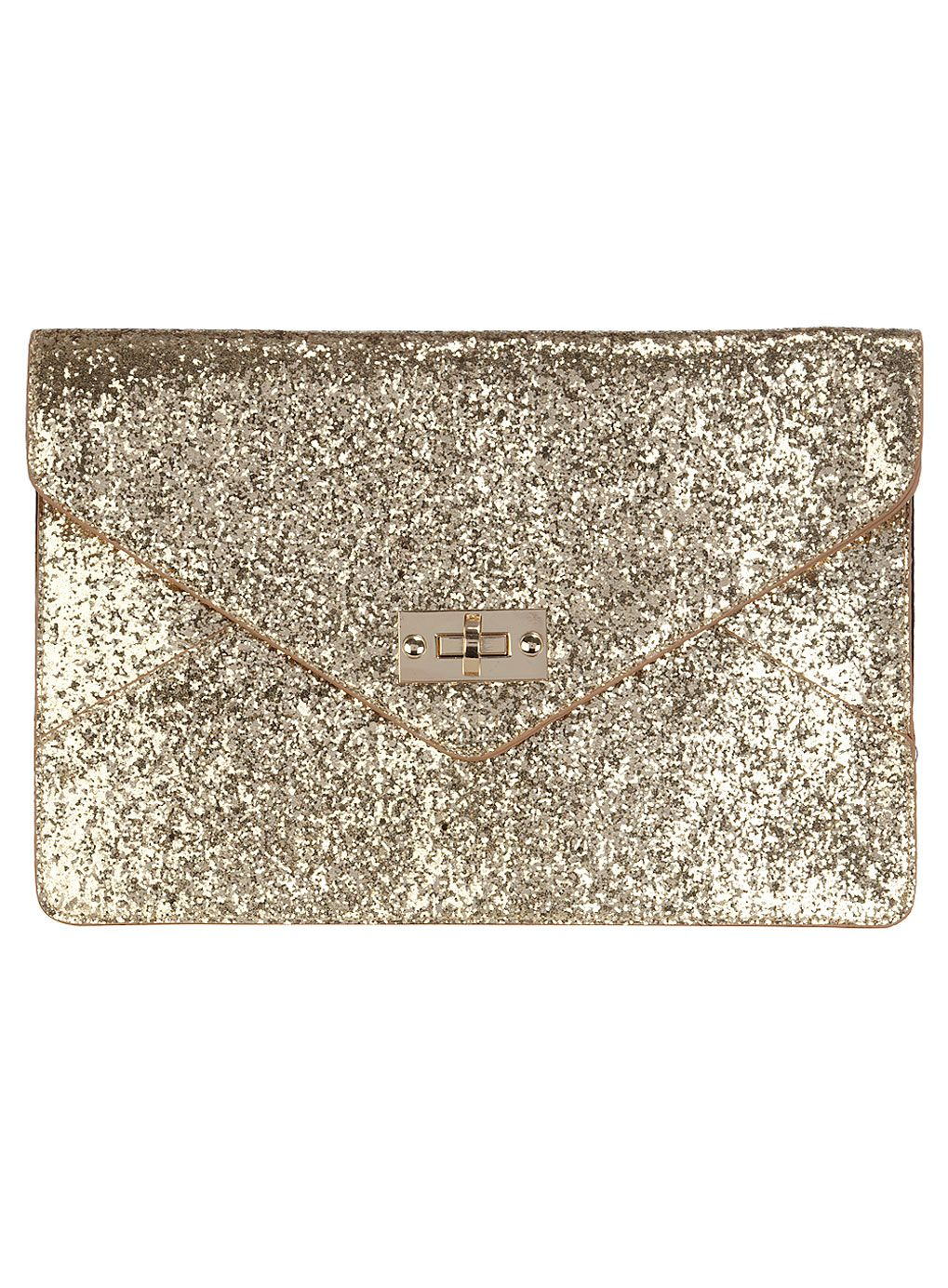 Kardashian gold glitter clutch