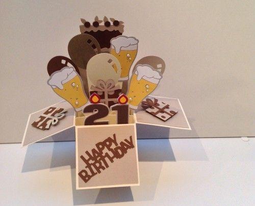 21st Birthday Pop Up Box Card 21st Birthday Cards Pop Up Box Cards Card Box