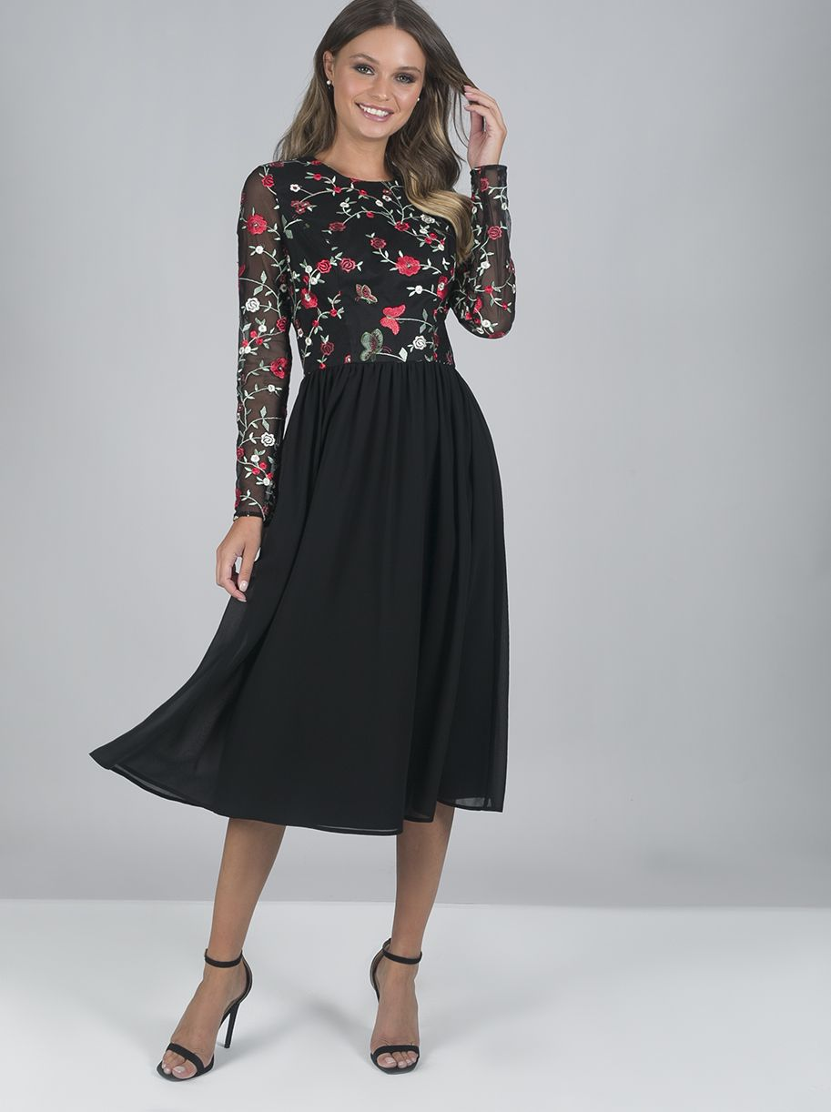 Black dress roses embroided clothing in pinterest chi chi