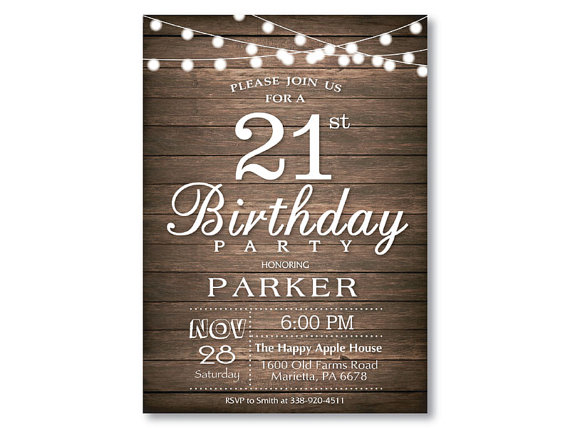 21st birthday invitation rustic string lights wood 16th 21st 30th