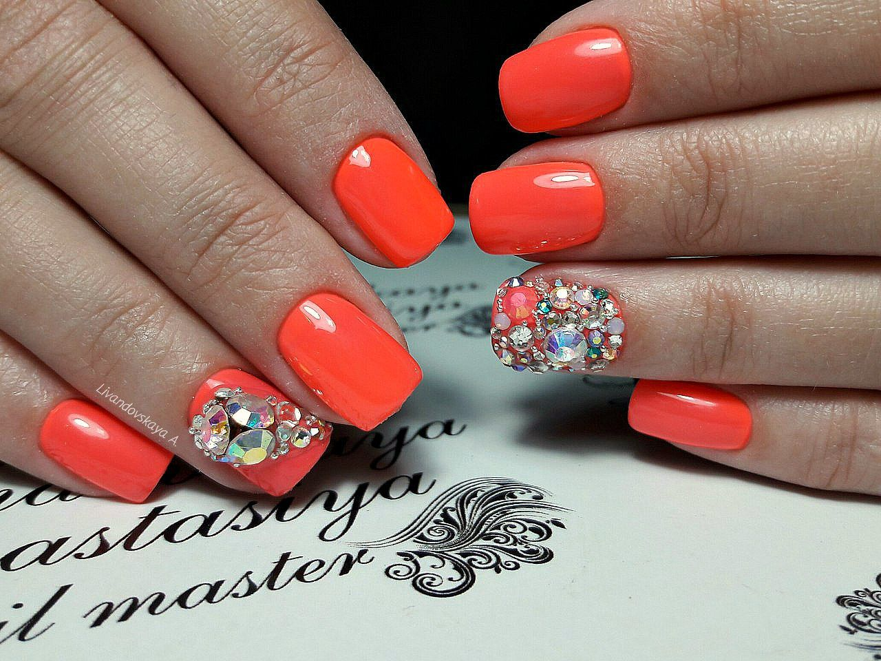 Nail Art 3413 Best Nail Art Designs Gallery Bestartnails Com Orange Nail Art Bright Orange Nails Short Nails Art