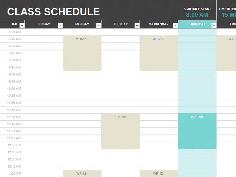 Student Schedule  Templates  College    Schedule