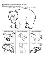 English coloring worksheet: Brown Bear what do you see