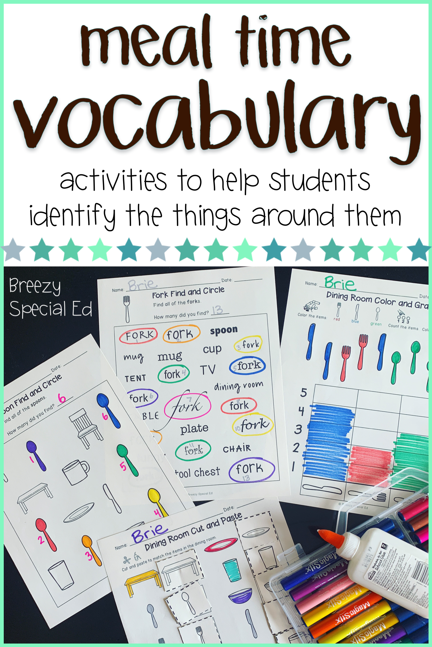 Dining Room Vocabulary Unit Special Education And Autism