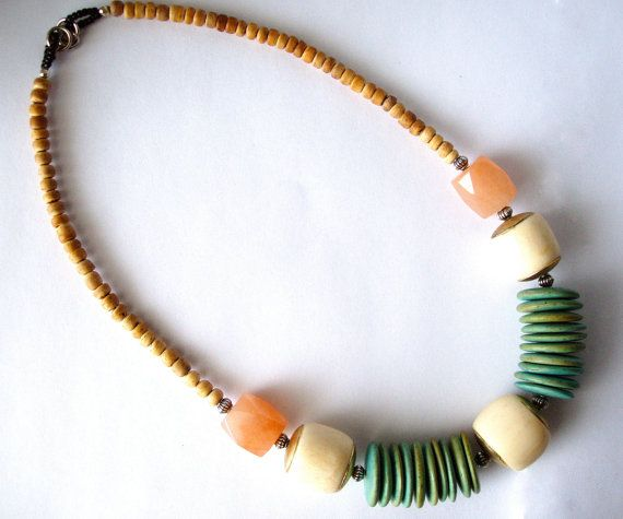 Tribal Style Resort Statement Necklace. Bone, Wood, Jade La Barbade Collection - Necklace No. 9