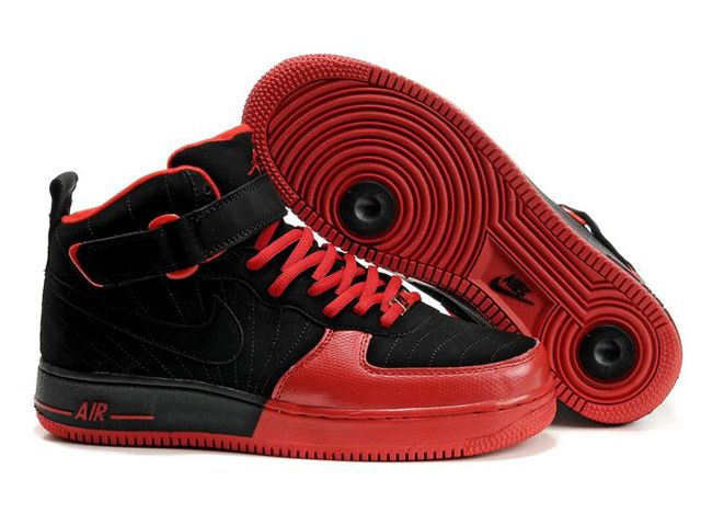 Nike Chaussure Pas Cher,Nike Blazer and Timerland Chaussures Nike Air Force  One Noir/ Rouge - Chaussures Nike Air Force One Noir/ RougeDessus : Cuir ...