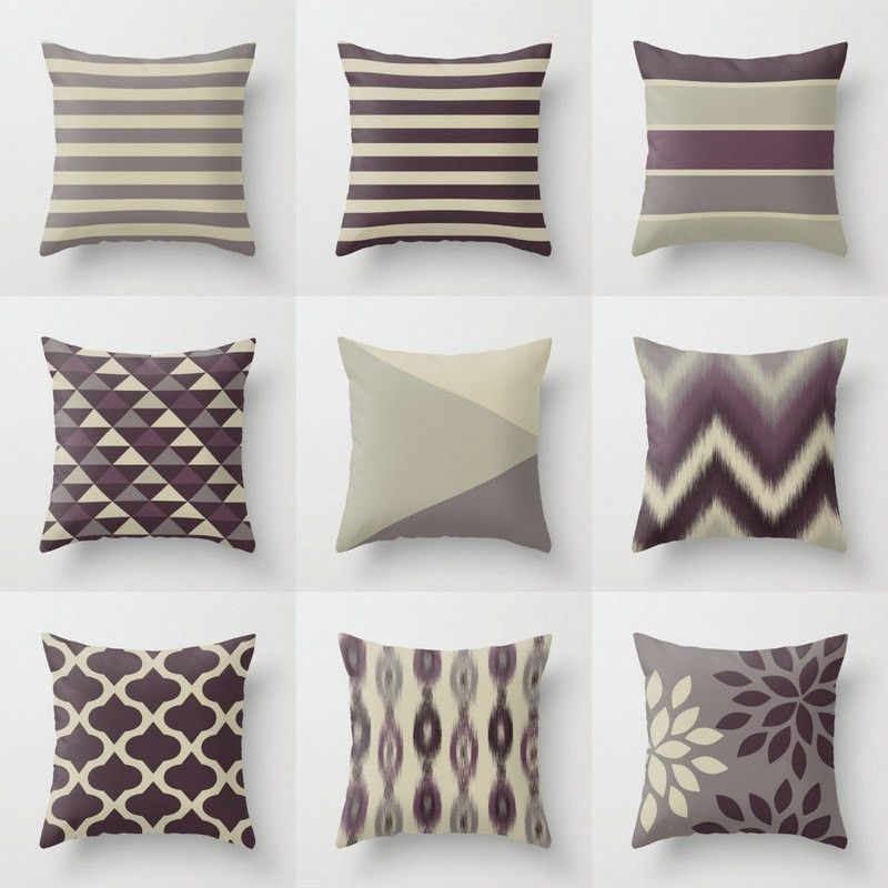 Throw Pillow Covers, Plum Purple Grey, Couch Cushion Cover Euro shams Pinterest Couch ...