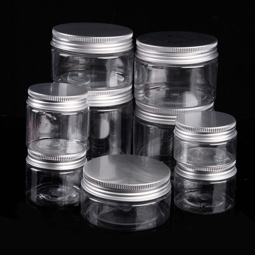 30ml 250ml Aluminum Cap Clear Plastic Can Tin Pot Jar Container Empty Bottle Ca Lip Balm Containers Makeup Jars Cosmetic Containers