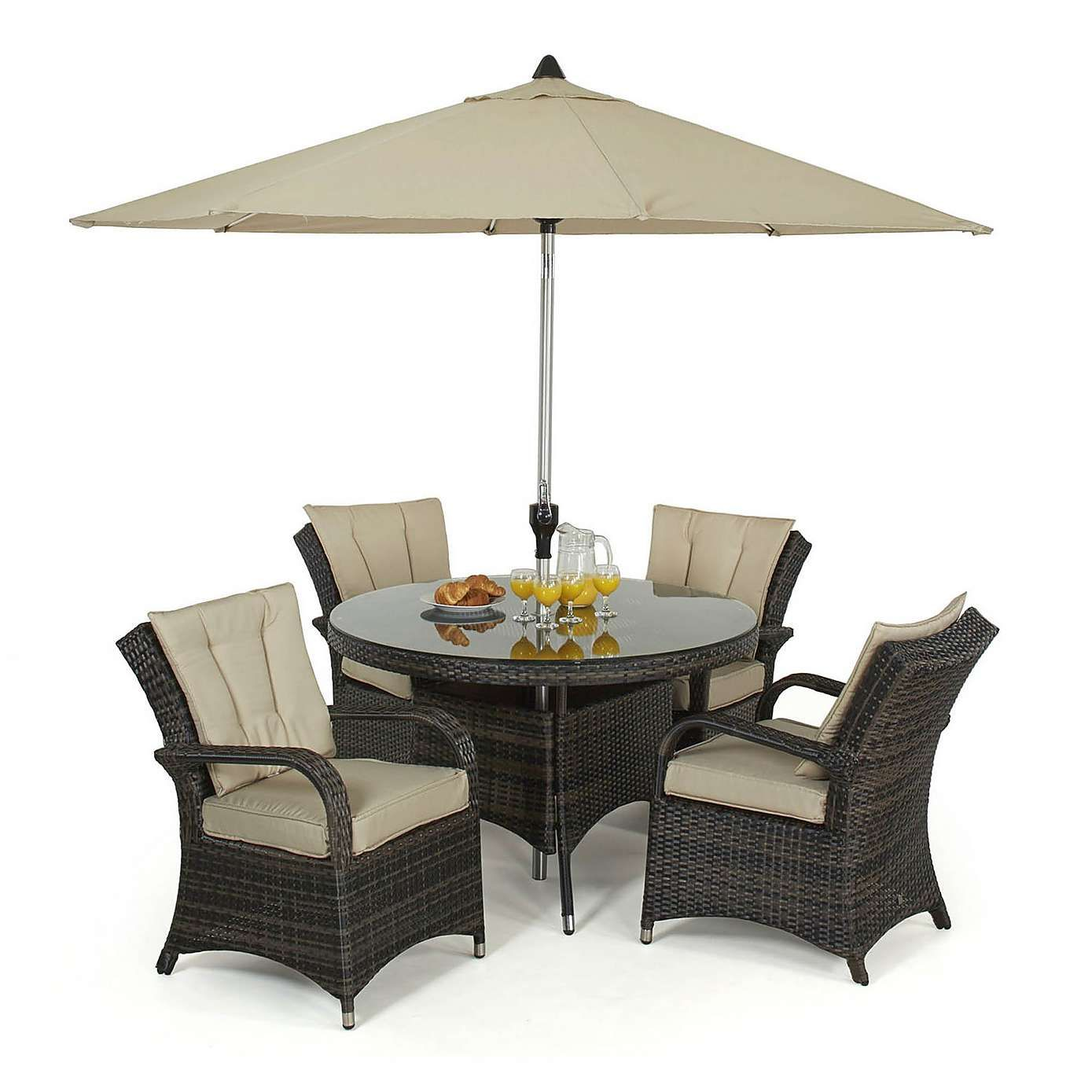 Finished In Brown Weather Resistant Woven Rattan This Texas Dining Set From Maze Seats Four People Around A Circular Glass Top Table
