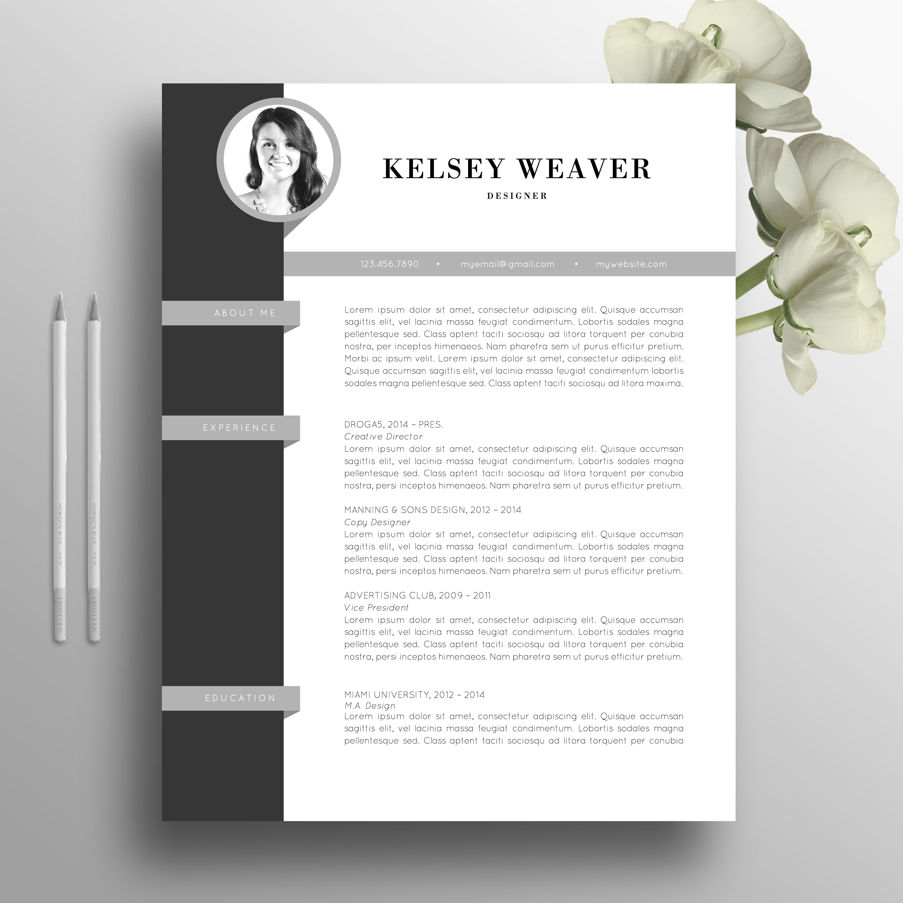 Professional Resume Template, CV Template, Cover Letter