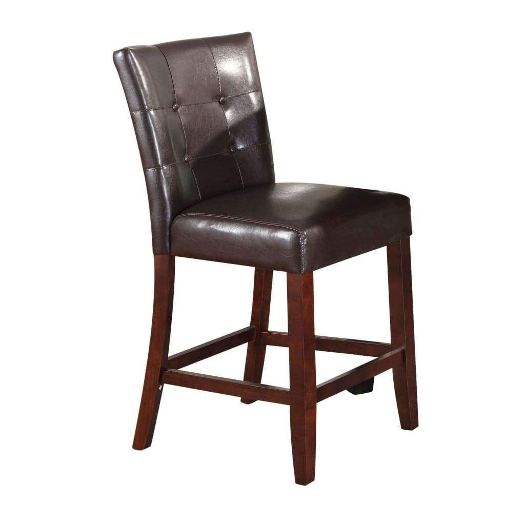 Leather Upholstered Wooden Counter Height Chair Brown Set Of 2 Counter Height Chairs Wooden Counter Acme Furniture