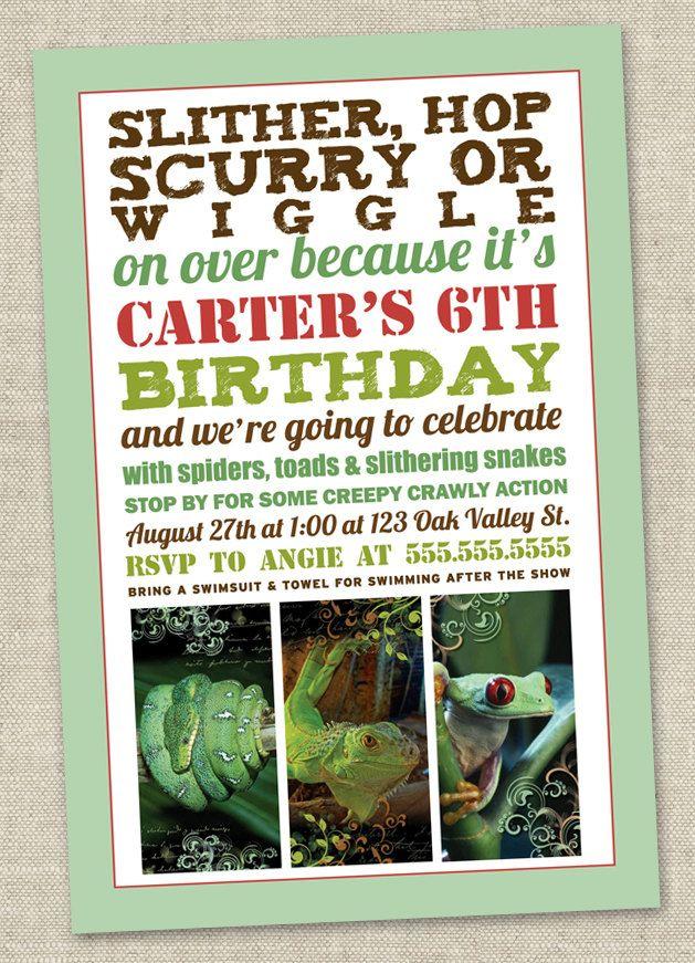 Party Invitation Invite Snake Lizard Frog Alligator Printable