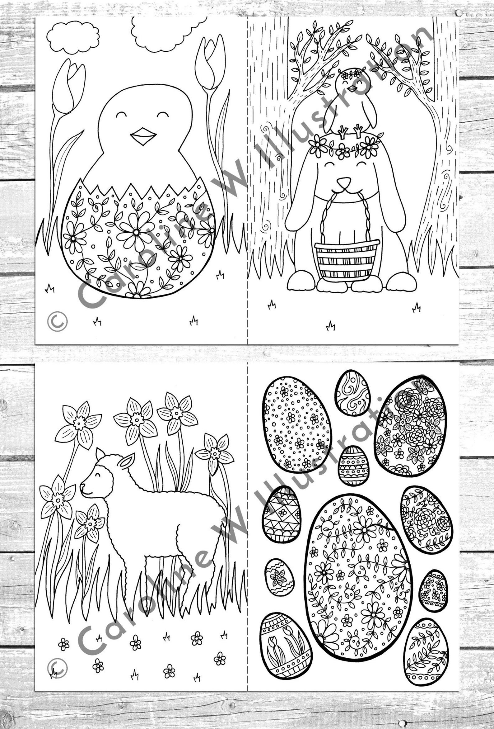 PRINTABLE Easter colouring pages, easter activities, kids