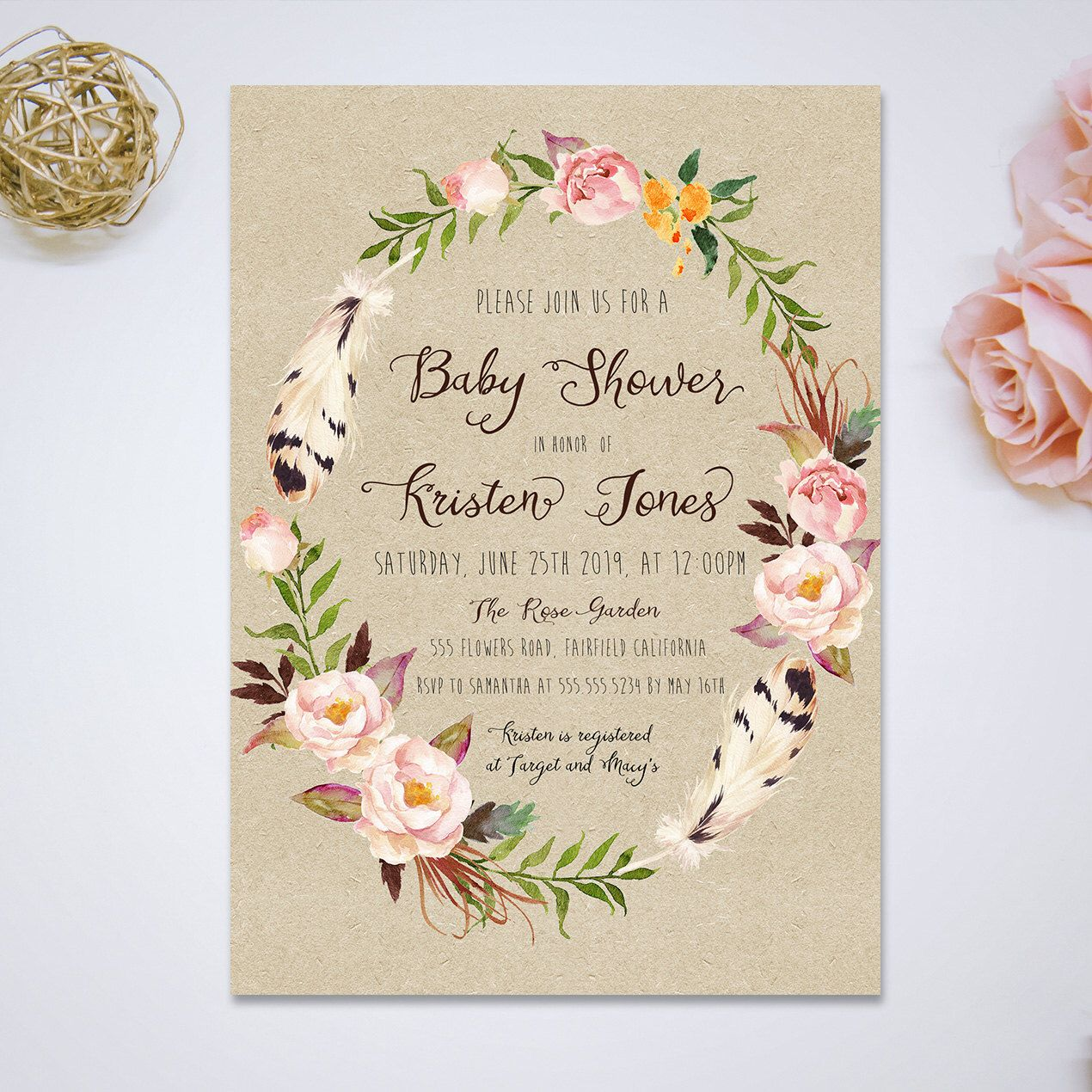 Pin by sydney steele on baby pinterest pink watercolor printable vintage pink watercolor floral baby shower invitation baby shower card flowers and feathers baby shower diy filmwisefo Image collections