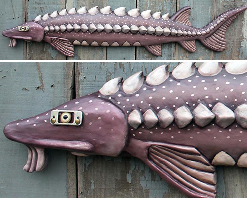 Large Sturgeon Fish Wall Sculpture Mixed Media 58 Etsy Sturgeon Fish Sturgeon Wall Sculptures