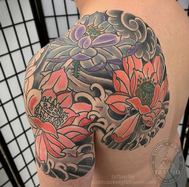 Traditional Japanese Lotus And Waves Shoulder Panel By Scott Cooksey Of Lone Star Tattoo Dallas Tx Star Tattoos Lone Star Tattoo Tattoos