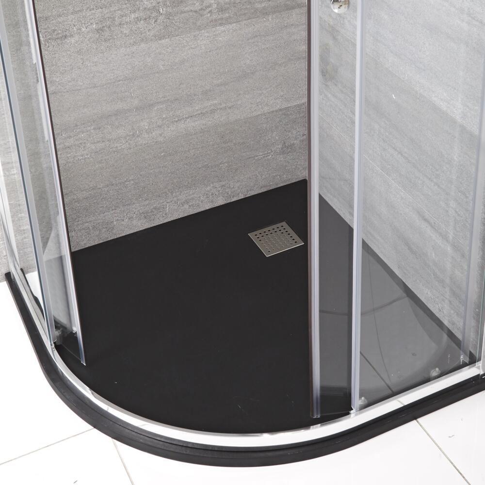 Milano Rasa Graphite Slate Effect Quadrant Shower Tray 900mm In 2020 Quadrant Shower Shower Tray Shower Enclosure