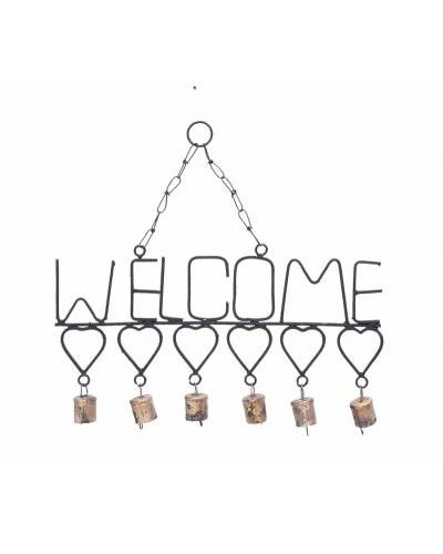Metal Welcome Sign With Hearts And Small Bells Wind Chimes Metal Welcome Sign Welcome Design