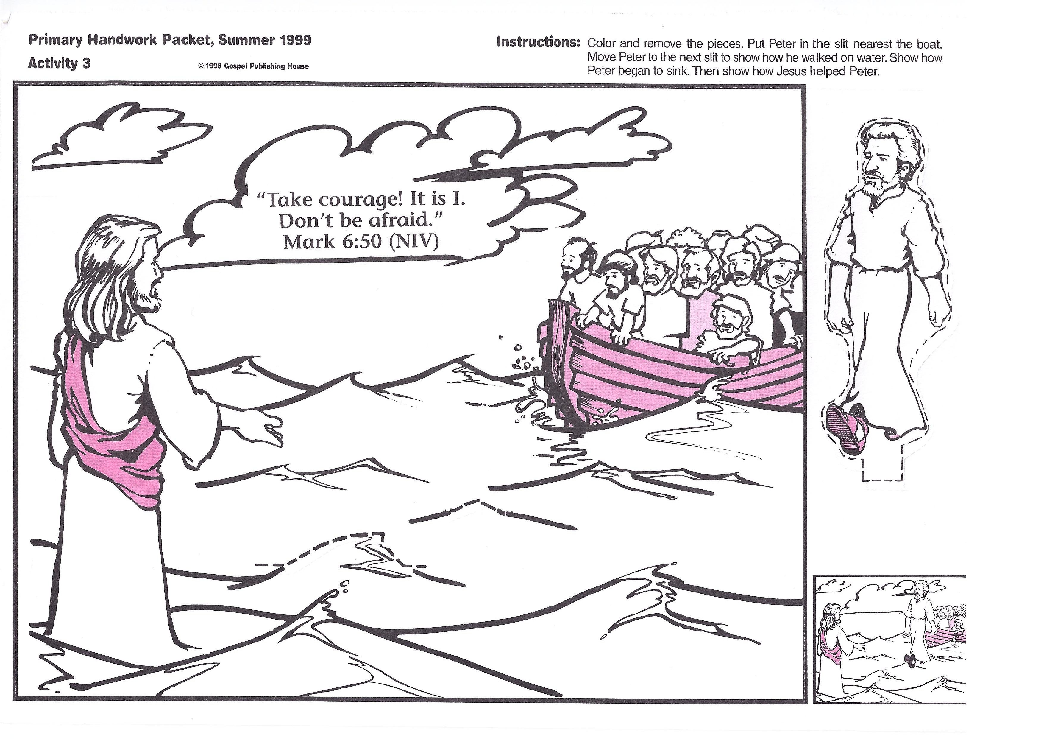 Jesus Walks On Water Coloring Page And Bible Card Jesus Walk On