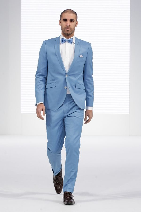 Latest Coat Pant Design Light Blue Men Wedding Suits Slim Fit Tuxedo ...