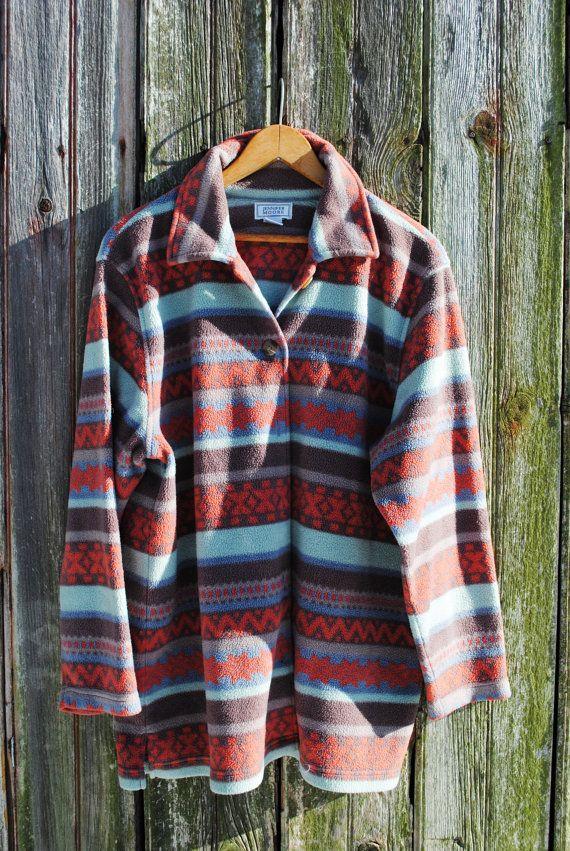 0cdcd1418 Vintage Tribal Print Fleece Jacket Active Aztec Outerwear
