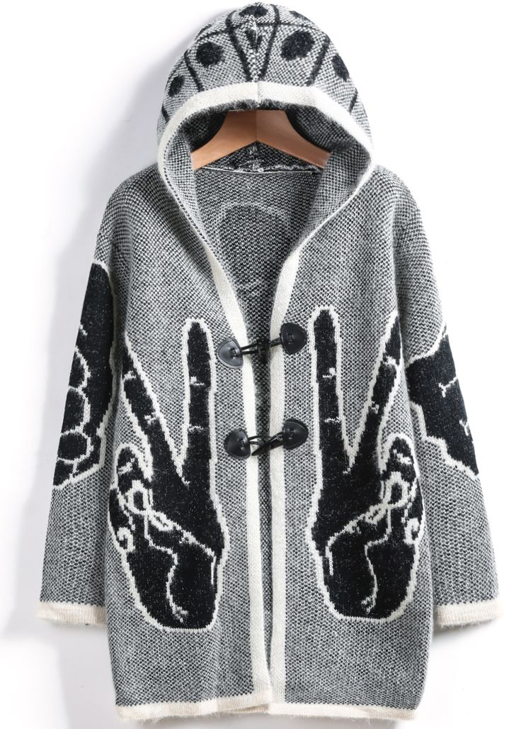 Shop Grey Hooded Long Sleeve Finger Knit Cardigan online. SheIn offers Grey Hooded Long Sleeve Finger Knit Cardigan & more to fit your fashionable needs.
