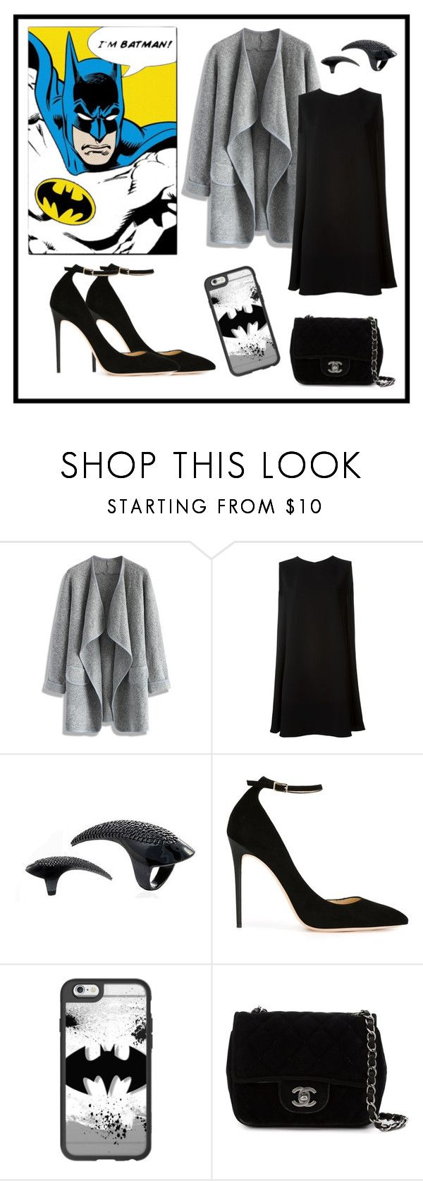"""""""Batman"""" by luis-sato ❤ liked on Polyvore featuring Chicwish, McQ by Alexander McQueen, Jimmy Choo, Casetify and Chanel"""