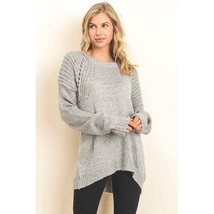 Pullover Sweater w/Open Knit Shoulders