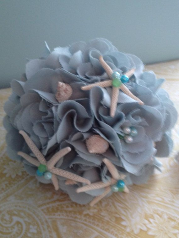 sea shell wedding bouquet and matching boutonniere by LCFloral, $85.00