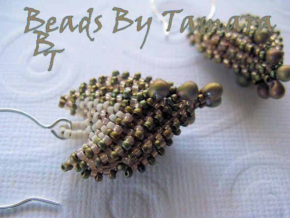 Pagoda Earrings Peyote and Herringbone stitch Off by BeadsByTamara