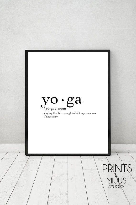 Yoga Print, Poster Printable, Yoga Definition, Yoga Poster, Printable, Yoga Gifts, Black & White, Modern, Gift, Minimalism, Yoga