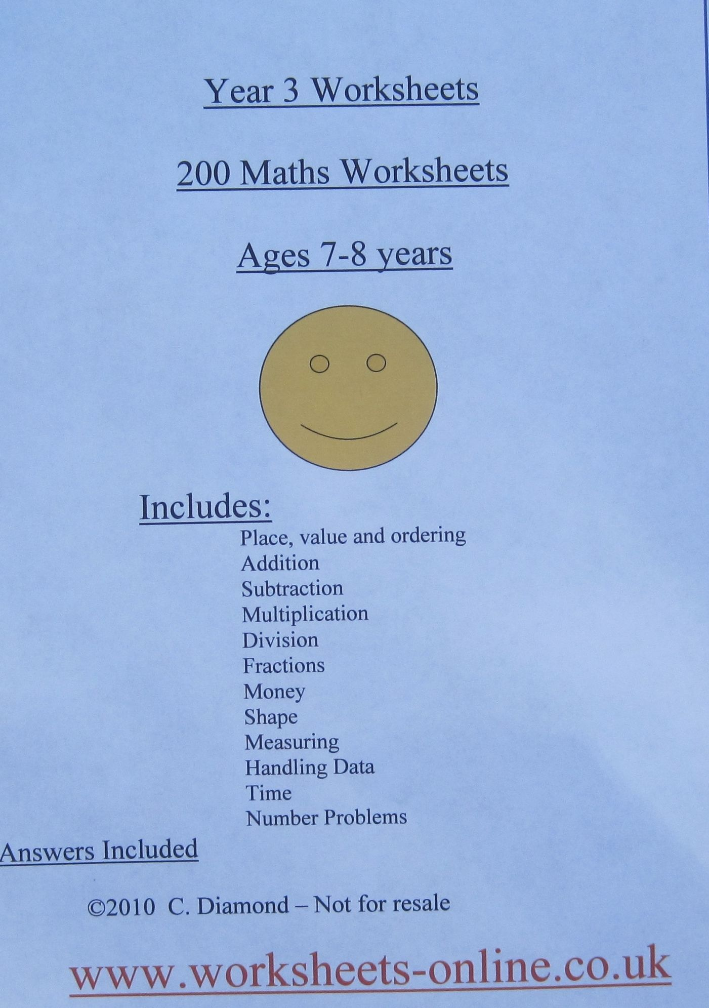 200 Year 3 Maths Worksheets For Children Aged 7 8 Years Old